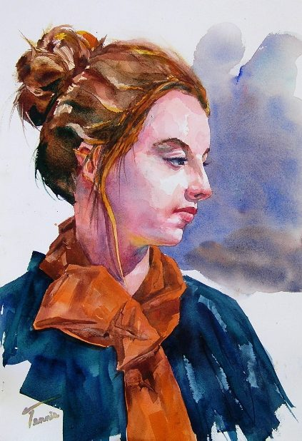 Fine Art Watercolor portrait of a Woman in an Orange Scarf