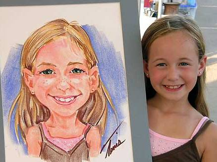 Young girl drawn at an Art Fair Festival