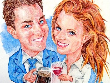 Caricature by Bernie of Couple drinking beer and wine
