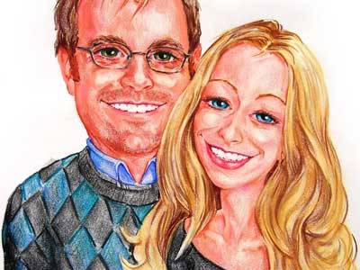 Caricature by Bernie of an engaged couple