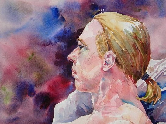 Watercolor portrait by Bernie of a man in profile
