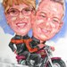 Caricature by Bernie of a Couple on a Harley