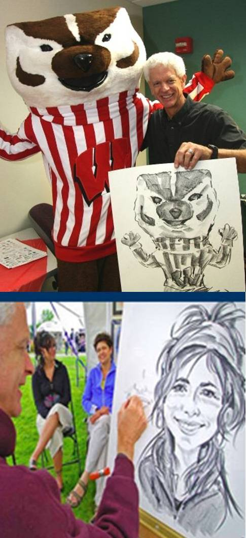 Two Caricatures by Bernie drawn live at events